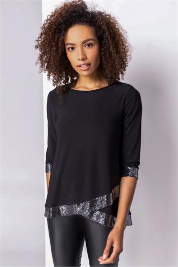 Black Asymmetric Hem Shimmer Top