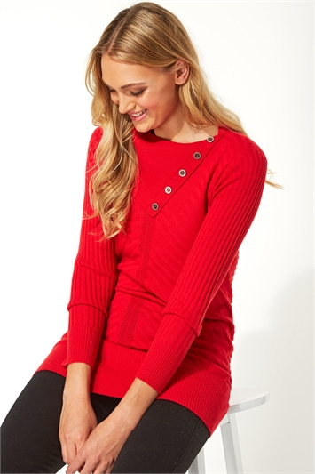 Red Split Button Neck Chevron Ribbed Tunic, Image 1 of 5