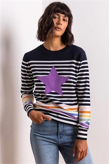 Multi Star Stripe Print Longline Jumper, Image 1 of 5