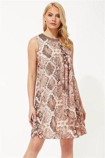 Embellished Snake Print Swing Dress