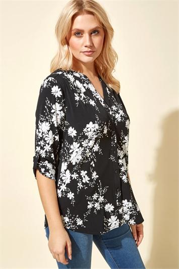 Black Floral Print Roll Sleeve Shirt