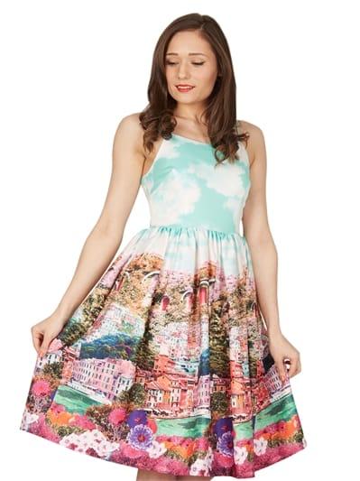 Marlene Turquoise Riviera Swing Dress