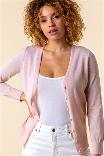 Light Pink Faux Pearl Button Detail Cardigan, Image 1 of 5