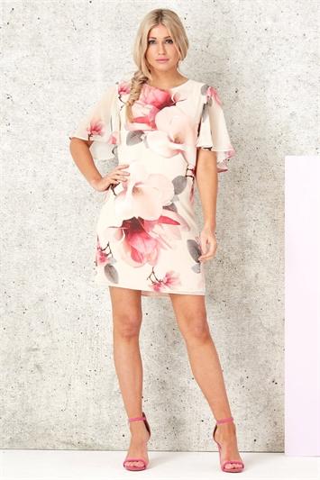 Floral Angel Sleeve Chiffon Dress