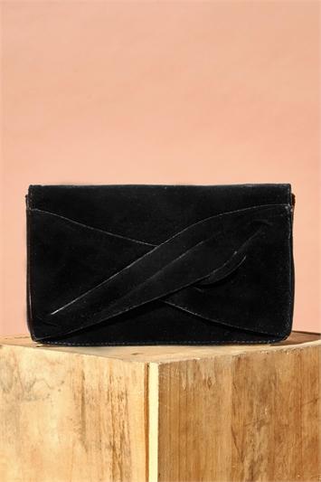 Black Twist Front Velvet Clutch Bag