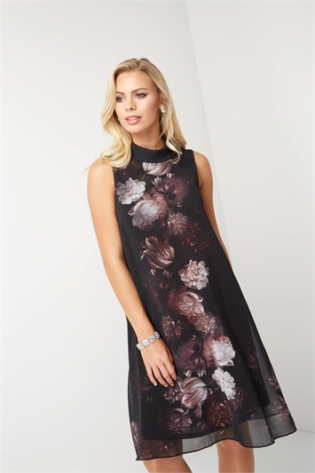 Chiffon Floral Placement Print Dress