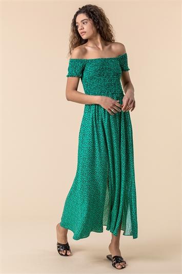 Green Shirred Spot Print Bardot Dress
