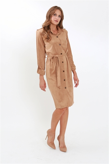 Julianna Faux Suede Button Through Shirt Dress