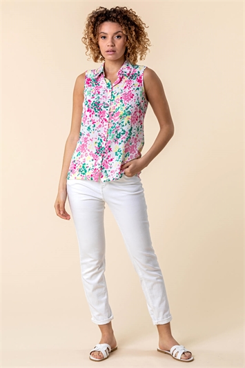 Ditsy Floral Print Sleeveless Button Up Shirt