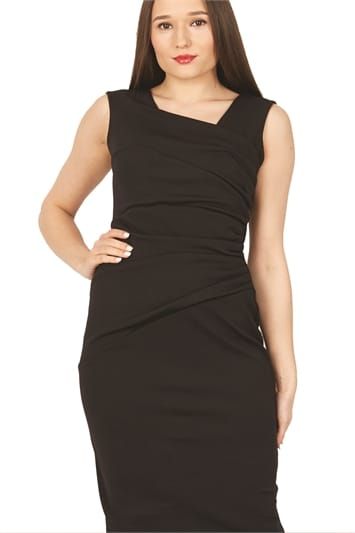 Side Pleat Asymmetric Dress