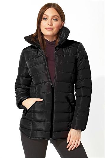Black Short Zip Through Padded Coat