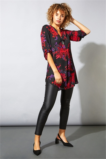 Dark Floral Print Notch Neck Top