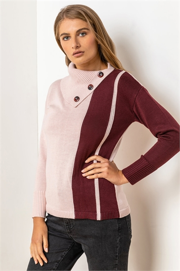 Pink Colourblock Cowl Neck Button Jumper, Image 1 of 5
