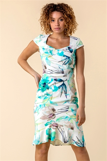 Floral Frill Hem Scuba Dress