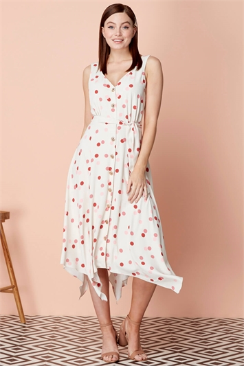 Polka Dot Fit and Flare Belted Dress