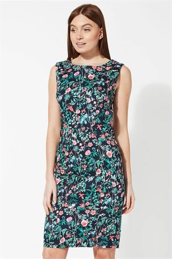 Floral Print Sleeveless Shift Dress