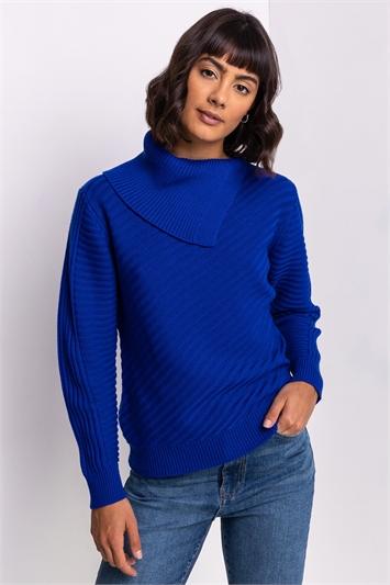 Royal Blue Textured Knit Split Neck Jumper, Image 1 of 5