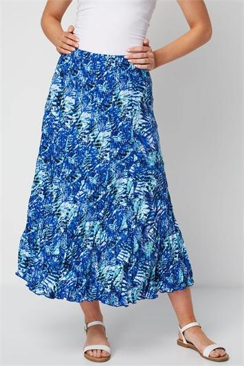 Tropical Print Crinkle Midi Skirt
