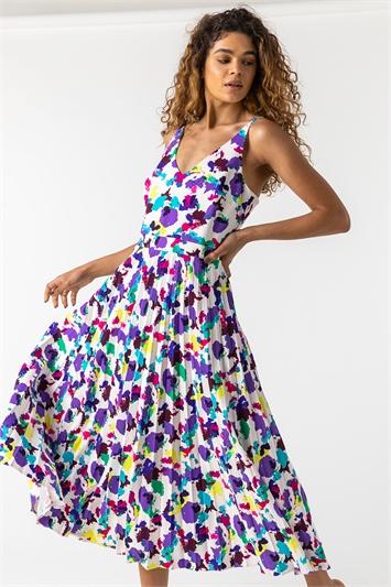 Multi Abstract Print Pleated Midi Dress