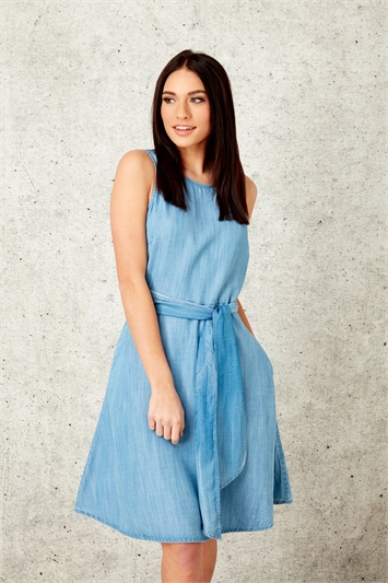 Denim Fit and flare Dress with Pockets
