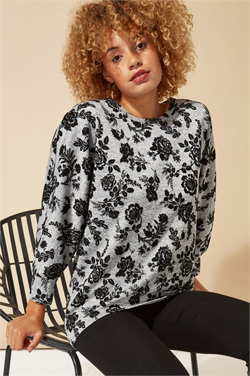 Floral Flock Print 3/4 Sleeve Top