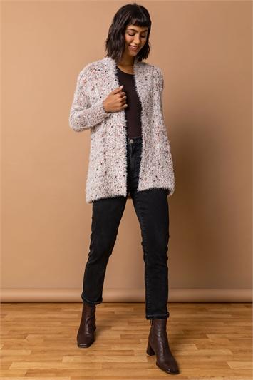 Natural Fluffy Longline Cardigan