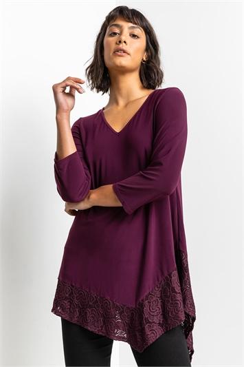 Purple Asymmetric Lace Hem Jersey Top, Image 1 of 5