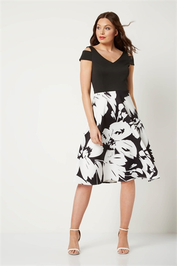Fit and Flare Floral Scuba Dress
