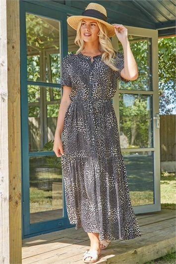 Animal Print Button Through Maxi Dress