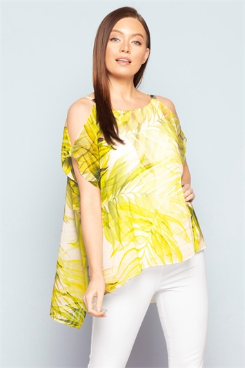 Cold Shoulder Tropical Print Top
