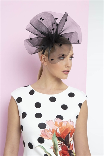 Polka Dot Mesh Cloud Fascinator