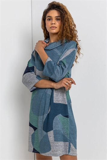 Blue Abstract Print Cowl
