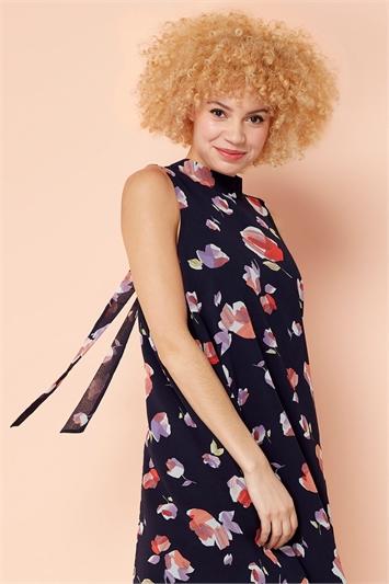 High Neck Floral Print Swing Dress