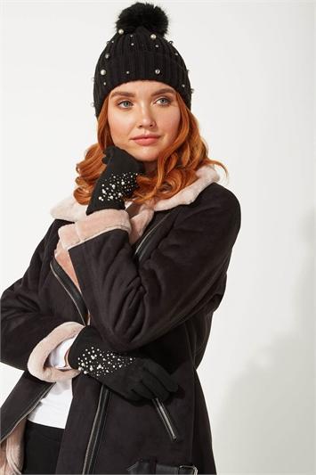 Black Suedette Diamante Gloves