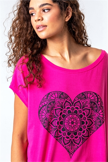 One Size Henna Heart Print Lounge Top