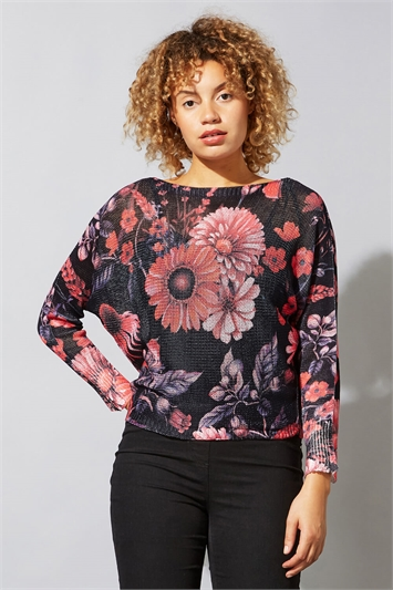 Floral Print Slash Neck Jumper