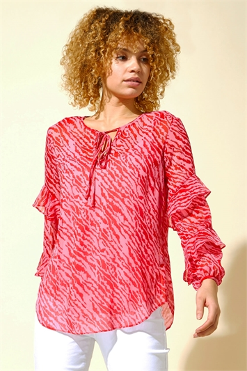 Abstract Animal Print Frill Sleeve Top