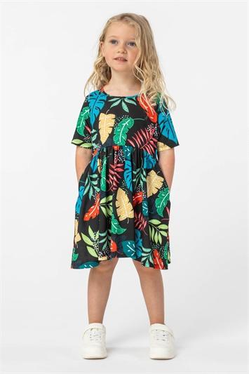 Green Girls Tropical Print Pocket Detail Dress