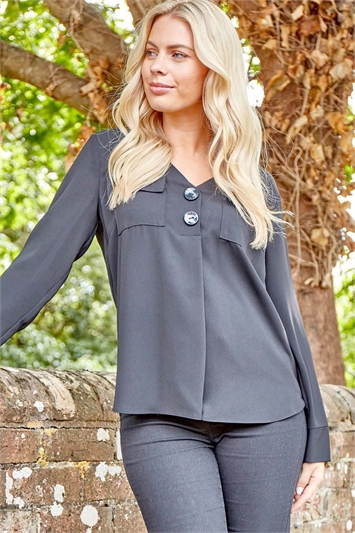 Woven Pocket Detail Button Front Top