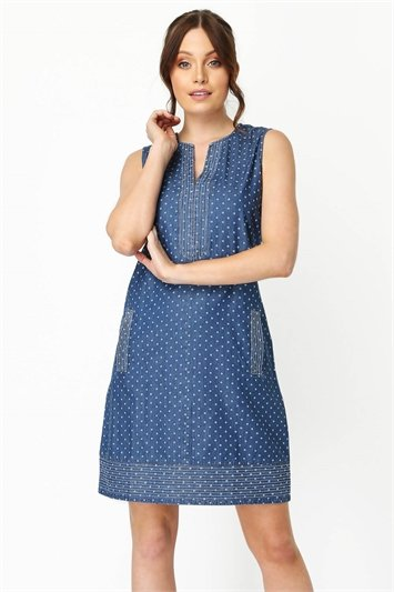 Spot Print Denim Shift Dress