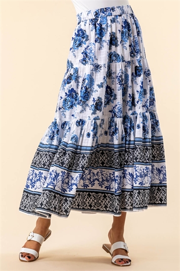 Floral Contrast Print Tiered Cotton Skirt