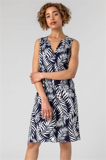 Navy & Ivory Feather Palm Print Shift Dress