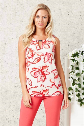 Floral Print Keyhole Metal Trim Top
