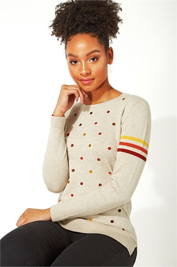 Embroidered Spot Stripe Jumper
