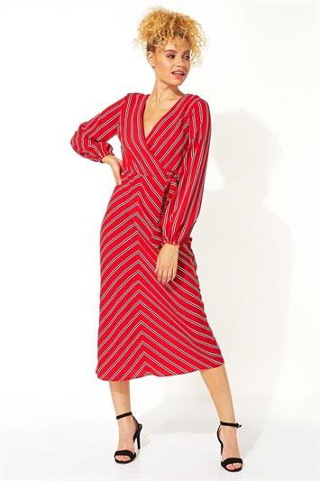Wrap Stripe Midi Dress