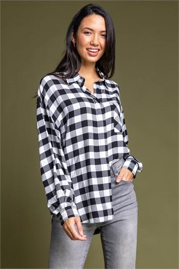 Black Relaxed Check Print Shirt