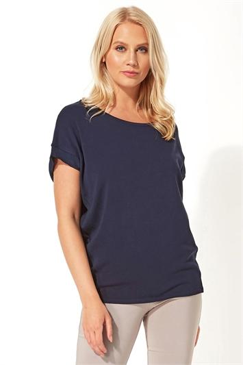 Chiffon Panel Knit T-Shirt