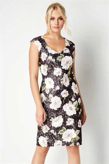 Black Floral Bonded Lace Floral Dress