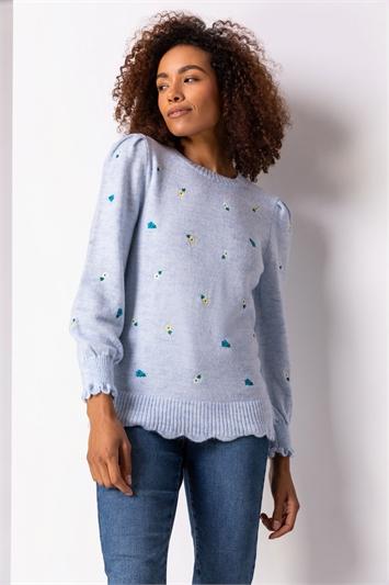 Light Blue Floral Embroidered Scallop Hem Jumper, Image 1 of 5