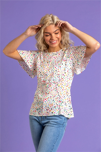 Multi Scattered Spot Print Flared Top